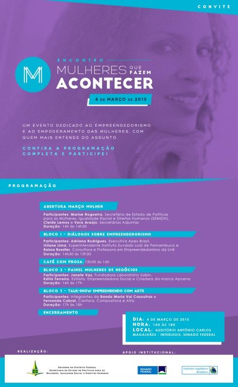 Convite Encontro SEMIDH - Mulheres que Fazem Acontecer_Mar 2015
